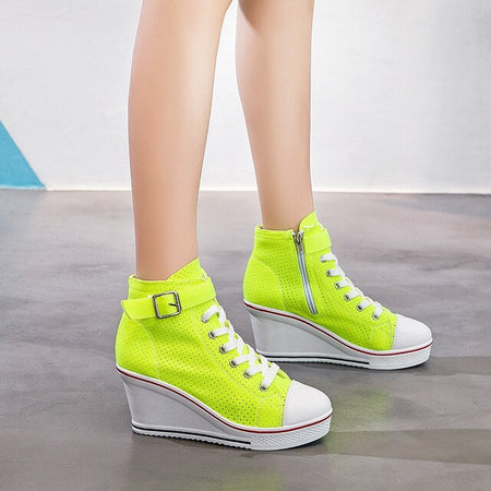 Fashion Sneakers High Top Buckle Lace Up Platform