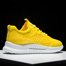 Trainer Men Sneakers Summer Mesh Lightweight Walking Sport Shoes Men Yellow Print Breathable Low Cut Youth Running Sneakers