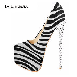 Zebra Stripper Ultra High Heel Pumps