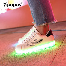 7ipupas 2019 HOT SALE Leaf graffiti kids led shoe 11 color luminous sole sneaker for goy gilr Beautiful light up glowing sneaker
