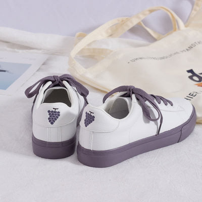 Women Sneakers Purple Grape Cute Peach 2019 Spring New Lady Sneakers Mixed Colors Flat Heel Pu Leather Sneakers