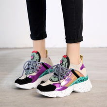 2019 Spring Style Round Toe Platform Chunky Purple Sneakers Women Dad Shoes Sock Champagne Purple Basket Femme Sneakers M9024