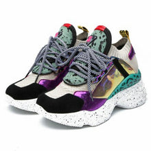 2020 Spring Style Round Toe Platform Chunky Purple Sneakers Women Dad Shoes Sock Champagne Purple Basket Femme Sneakers M9024