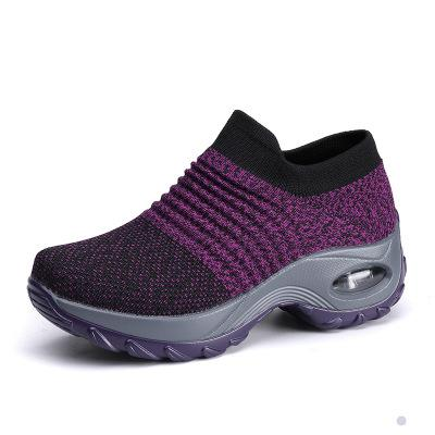 Thick Bottom Sock Women Sneakers Purple Platform Breathable Air Mesh Outdoor Knitting Ladies Casual Sneakers Plus Size