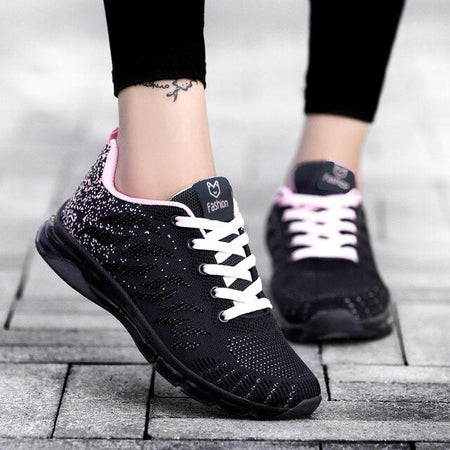 2019 Fashion Korean Flying Women Sneakers Purple Outdoor Women Sneakers Breathable Air Mesh Damping Casual Shoes Basket Femme
