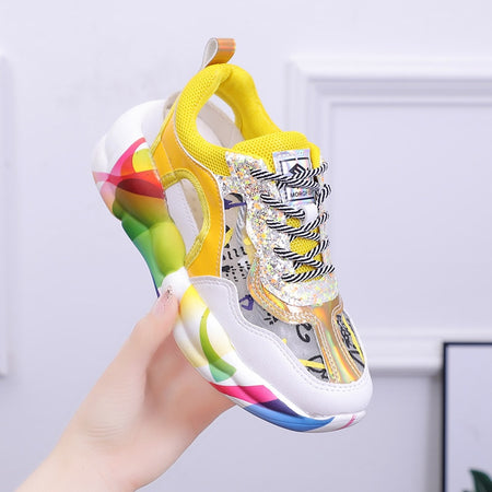 Fashion Breathable Mesh Women Sneakers Purple Platform Trainers Graffiti Designer Women Shoes Runway Sneakers Sequins