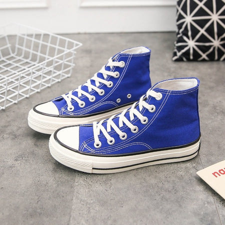High Top Canvas Flats Sneakers spring Solid Color purple Women's Casual Shoes Vulcanized Sneakers women  Lace Up Footwear QW-22