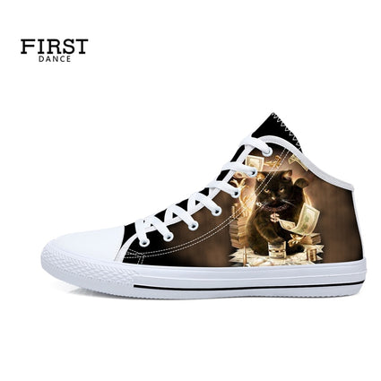 Spring Custom Women Shoes Canvas Med Top 3D Printing Lace Up Sneaker