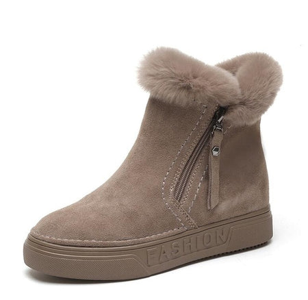 Women's Winter Zipper Flock Platform Snow Boot