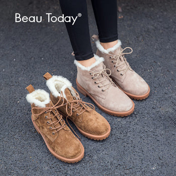 BeauToday Wool Snow Boots Women Genuine Leather Round Toe with Lace-Up Platform
