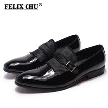 FELIX CHU Elegant Formal Mens Wedding Loafers Patent Leather with Horse Hair Buckle Party Slip-On Men Black Blue Dress Shoes