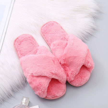 MCCKLE Winter Home Shoes Women House Slippers Warm Faux Fur Ladies
