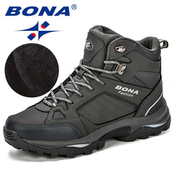 BONA Men Boots Anti-Skidding Leather Shoes Snow Boots Durable Outsole