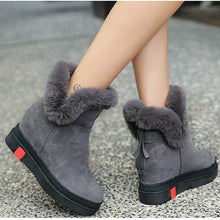 SWYIVY Wedges Winter Genuine Leather Snow Boots