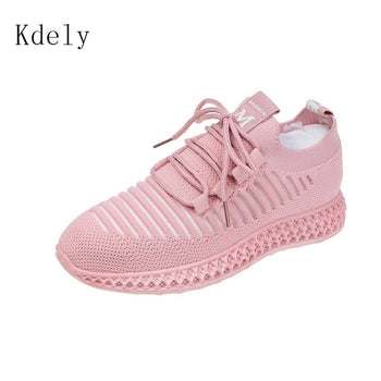 Yellow Knitted Breathable Casual Women Shoes