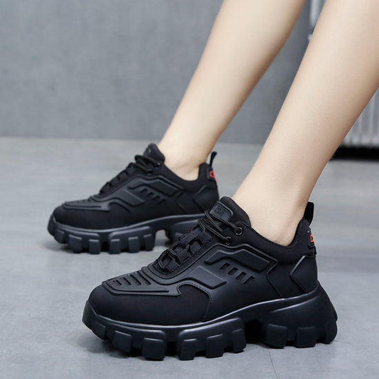 Leather Women's Platform Chunky Trainers