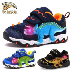DINOSKULLS 3-10 Boys Autumn Shoes Dinosaur LED Glowing Sneakers