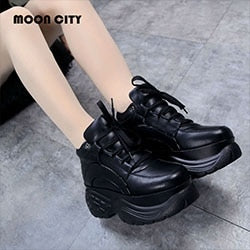 White Fashion Women Platform Sneakers Leather Vulacanize Shoes