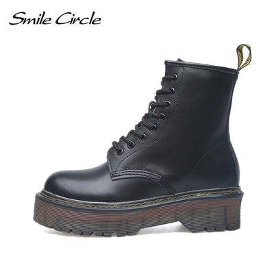 Smile Circle Size 35-42 Flat Platform Boots Women Shoes Autumn Winter