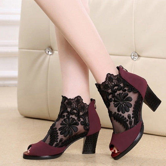 Summer mesh Peep Toe sandals sexy heels single shoes women shoes