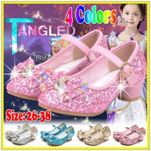 Princess Kids Leather Shoes for Girls Flower Casual Glitter Children High Heel