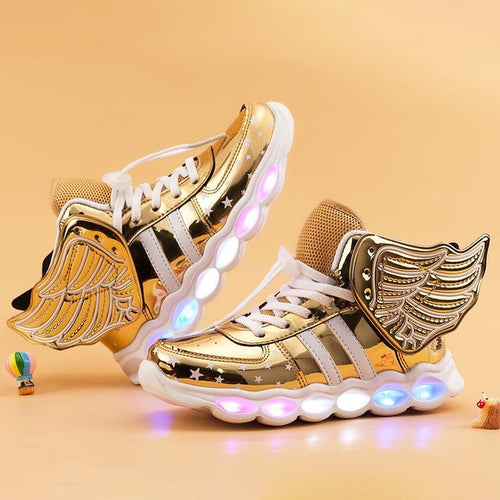 Kids Boots Luminous Wing Sneakers Boy Girl LED Light Up Shoes
