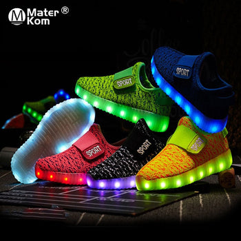 Led USB Recharge Glowing Sneakers Kids Led Luminous Shoes