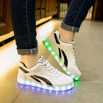 Size 30-44 USB Charge Children Luminous Sneakers Led Shoes for Kids