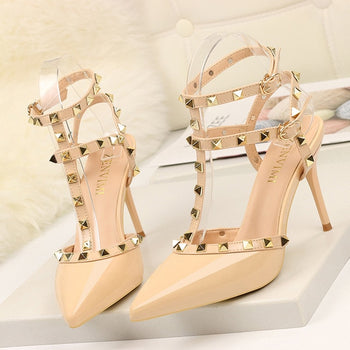 Rivet High Heels Luxury Designer Women Shoes Ladies Pumps