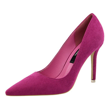Women Shoe Purple Shoes Heel Woman Flock High Heels Women Pumps