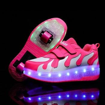 Heelies USB charge LED Colorful Children Kids Fashion Sneakers