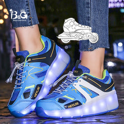 B&G LED Light Wheel Skateboarding Kids Shoes Mans Anti-slip Walking Sneakers