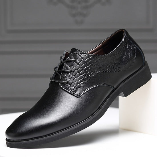 AlexBu Fashion Leather Shoes Men Lace Up New Pointed Toe Dress Shoes