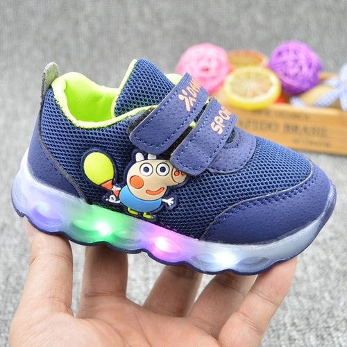 Peppa Pig Children Shoes Light Girl Led Shoes Kids Sneakers