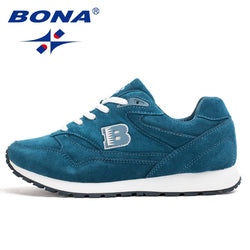 BONA Women Running Shoes Cow Split Breathable Lace Up Sport Shoes