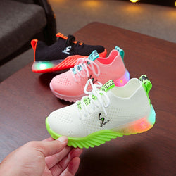 New Children Luminous Shoes Boys Girls Letter Sport Run Led Sneakers