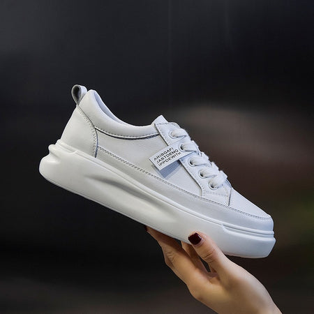 Big Size Women Sneakers Leather Light White Sneaker Female Platform Vulcanized Shoes