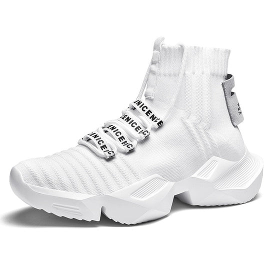 QZHSMY Men's Autumn High Cut Socks Shoes White Breathable Sports Shoes