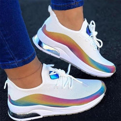 New Sneakers Women Casual Shoes Mesh Air-Cushion Flat Anti-Slip Women Colorful Sneakers