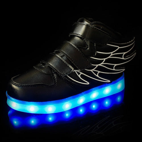 Size 25-37 Kids Led Usb Charging Glowing Sneakers