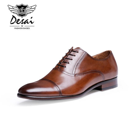 DESAI Brand Full Grain Leather Business Men Brown Dress Shoes Retro Patent Leather Oxford Shoes For Men Size EU 38-47