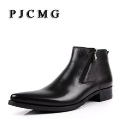 PJCMG New cowhide boots Genuine Soft Leather Pointed TOE Boots