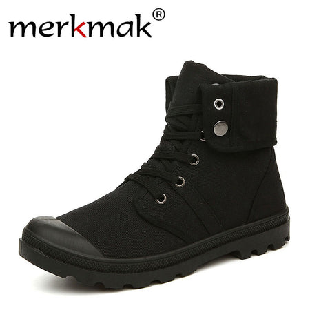 Merkmak Autumn Winter Men Canvas Boots Army Combat Style Fashion High-top Military Ankle Boots Men's Black Comfortable Sneakers