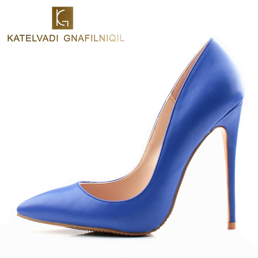 659849a6f03b Brand Women Pumps Blue Shoes Woman High Heels Sexy Wedding Shoes Fashion  Pointed Toe Female Shoes