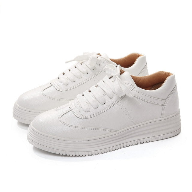 f7f290eef Teahoo Genuine Leather Women Sneakers Fashion Pink Shoes for Women Lace up  White Shoes Creepers Platform
