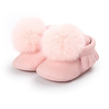 Cute Newborn Baby Girls Kids Toddler Fur Ball Soft Sneaker 0-18M