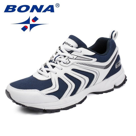 BONA New Fashion Style Men Casual Shoes Lace Up Men Loafers Microfiber Men Outdoor Sneakers Shoes Mesh Men Flats Free Shipping