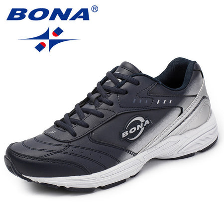 BONA New Classics Style Men Casual Black Sneakers Lace Up Men Loafers Split Leather Men Flats Outdoor Fashion Sneakers