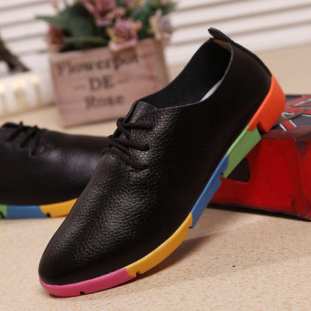 Smooth Genuine Leather Flats Sneakers For Women