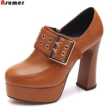 ASUMER black brown fashion spring autumn shoes woman round toe zip platform thick heel women high heels shoes big size 32-42